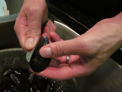 Dan demonstrates cleaning method...